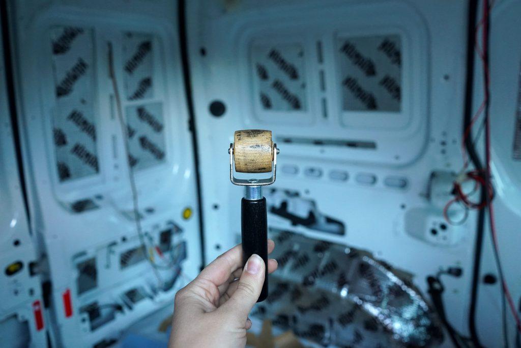 Hardwood roller for applying Kilmat sound deadener